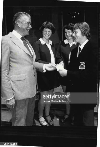 The Governor receiving the cheque from left Year 11 students Sharon Mead Margaret Musgrave and Laurence Hogg all 17 yearsThe Governor of NSW Sir...