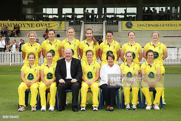 The Governor-General of Australia Peter Cosgrove and Lady Lynne Cosgrove pose with the Governor-General's XI for a team photo before the tour match...
