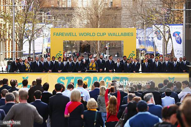The Governor-General of Australia Peter Cosgrove speaks as the Australian Wallabies 2015 Rugby World Cup squad line up during the Australia Rugby...