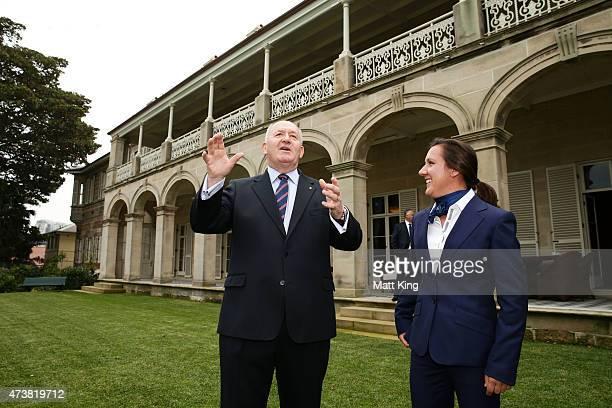 The GovernorGeneral of Australia Sir Peter Cosgrove talks to Australian Matildas cocaptain Lisa De Vanna during the Australian Matildas...