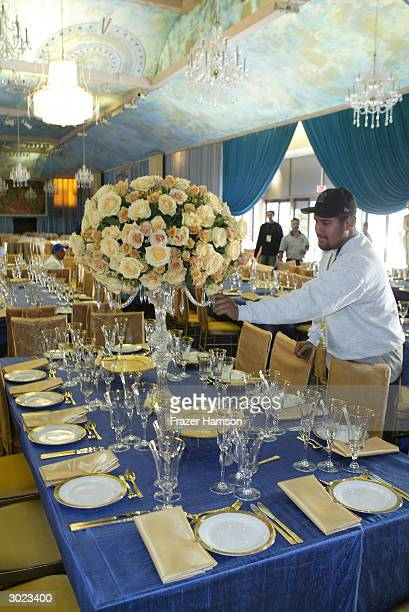 The Governors Ballroom is prepared before the Academy Awards at Hollywood and Highland on February 28 2004 in Hollywood California
