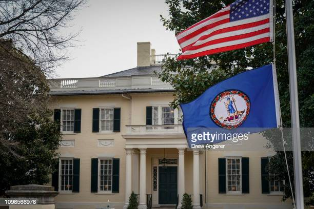 The Governor's Mansion stands near the Virginia State Capitol February 9 2019 in Richmond Virginia Virginia state politics are in a state of upheaval...