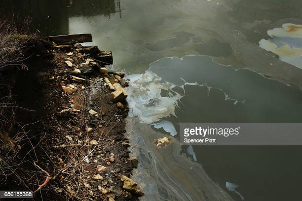 The Gowanus Canal which is a designated federal Superfund site sits in the Gowanus neighborhood in Brooklyn on March 21 2017 in New York City Area...