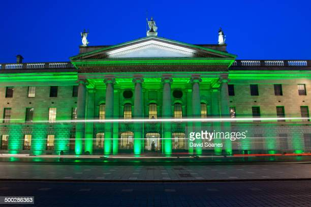 CONTENT] The GPO in Dublin City at dusk lit up green for the St Patrick's Festival