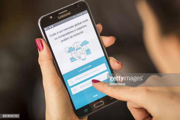 The Grabr Inc application is displayed on a Samsung Electronics Co Galaxy J7 smartphone in an arranged photograph taken in Sao Paulo Brazil on...