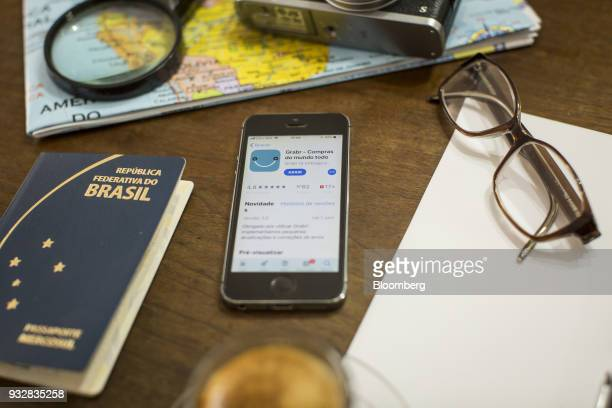 The Grabr Inc application is seen in the App Store on an Apple Inc iPhone in an arranged photograph taken in Sao Paulo Brazil on Wednesday March 14...