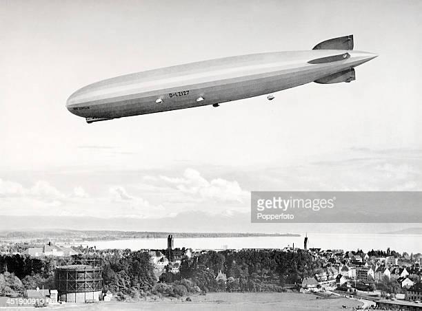 The Graf Zeppelin in flight over Lake Constance near Friedrichshafen circa 1928