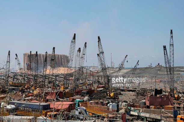 The grain silo at Beirut's port is pictured amid the rubble and debris in the aftermath of yesterday's blast that tore through Lebanon's capital and...