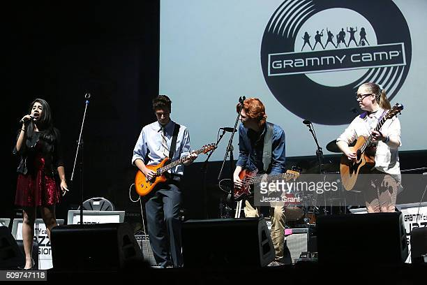 The GRAMMY Camp Alumni Band performs on stage during the GRAMMY Foundation¨Õs annual GRAMMY In The Schools Live Ð A Celebration of Music Education...