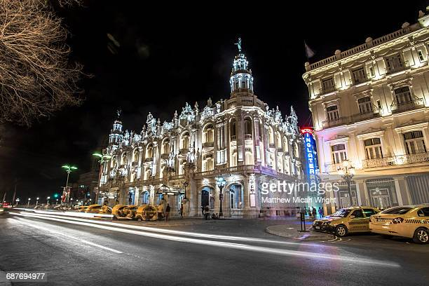 the gran teatro de la habana at night. - vaudeville stock pictures, royalty-free photos & images