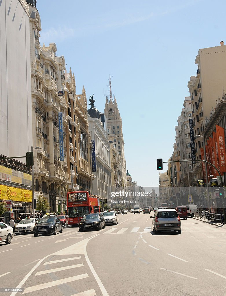 The 'Gran Via', one of the most important and many-colored streets of Madrid, has fulfilled hundred years, 9th Juny 2010, Madrid, Spain.