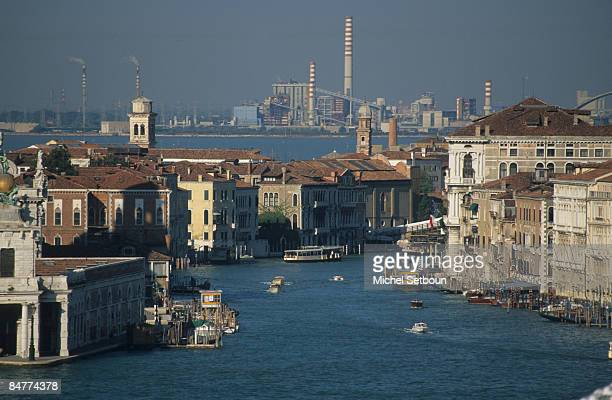 The Grand Canal in the distance the industrial district of Mestre on January 15 2009 in Venice Italy