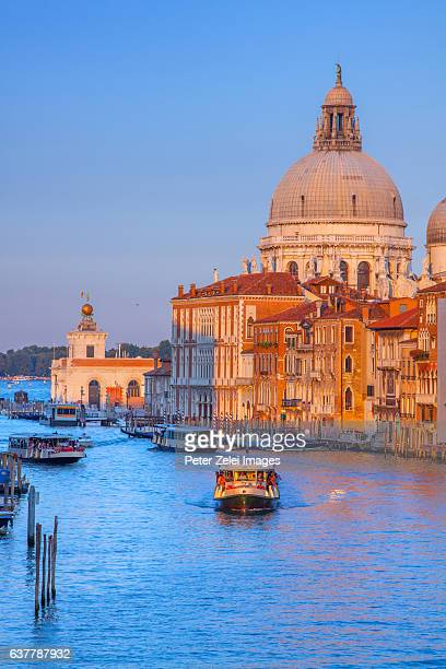 the grand canal in venice with the santa maria della salute in the background - vaporetto stock photos and pictures