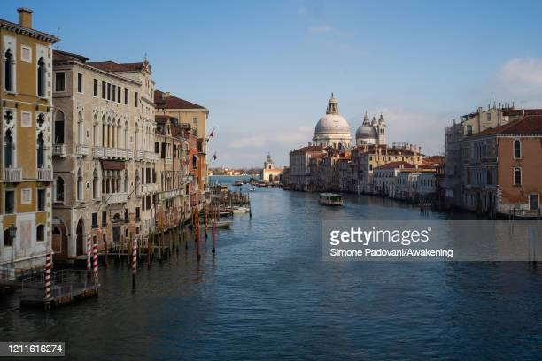 The Grand Canal is almost empty during the day on March 10 2020 in Venice Italy The Italian Government has taken the unprecedented measure of a...