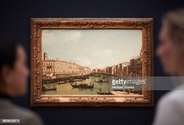 'The Grand Canal looking north from near the Rialto Bridge' by Bernardo Bellotto est £23 Million goes on view as part of Sotheby's London Old Masters...