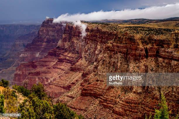 The Grand Canyon Colorado River and the Watchtower are seen from the South Rim in Grand Canyon Village Arizona United States at the Desert View Point...