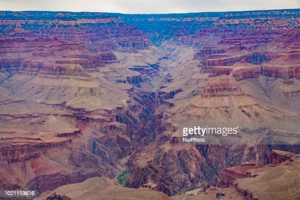 The Grand Canyon is seen in Grand Canyon Village Arizona United States at the Yavapai Point on July 14 2018 The Yavapai Point and Geology Museum...