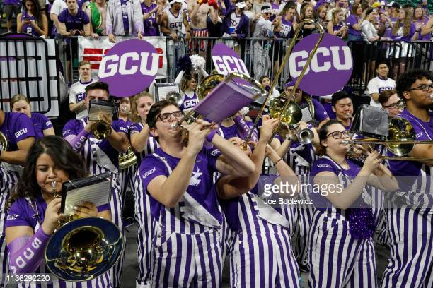 The Grand Canyon Lopes band performs during the championship game of the Western Athletic Conference basketball tournament against the New Mexico...