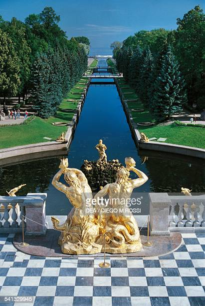 The Grand Cascade and the canal that connects the Peterhof Palace to the sea Peterhof near St Petersburg Russia