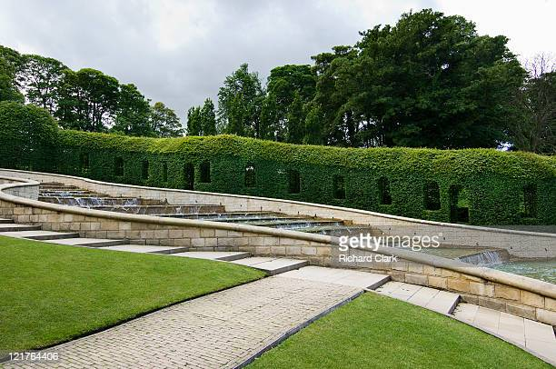 the grand cascades at alnwick gardens, nothumberland, uk - alnwick stock pictures, royalty-free photos & images