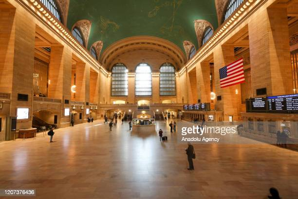 The Grand Central is seen quiet on a business day due to coronavirus pandemic on March 16 2020 in New York United States