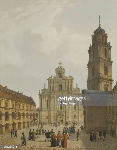 The Grand Courtyard of Vilnius University and the Church of St. Johns, circa 1850. Private Collection.
