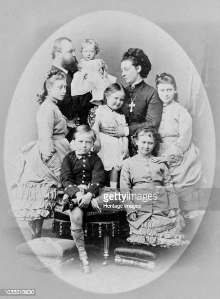 The Grand Ducal family of Hesse circa 1873 Photograph from a Royal Family album in Osborne House Isle of Wight Grand Duke Louis Grand Duchess Alice...
