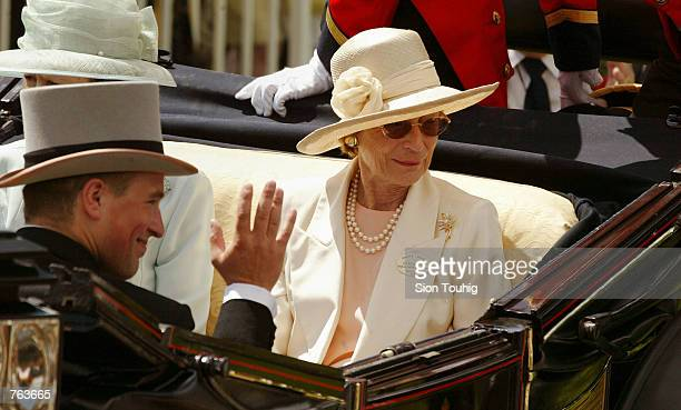 The Grand Duchess JosephineCharlotte of Luxembourg arrives by coach in the Royal Enclosure at the Royal Ascot horseracing event June 18 2002 in Ascot...