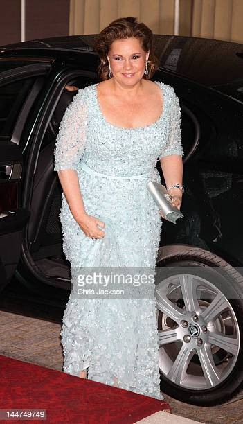 The Grand Duchess of Luxembourg attends a dinner for foreign Sovereigns to commemorate the Diamond Jubilee at Buckingham Palace on May 18, 2012 in...