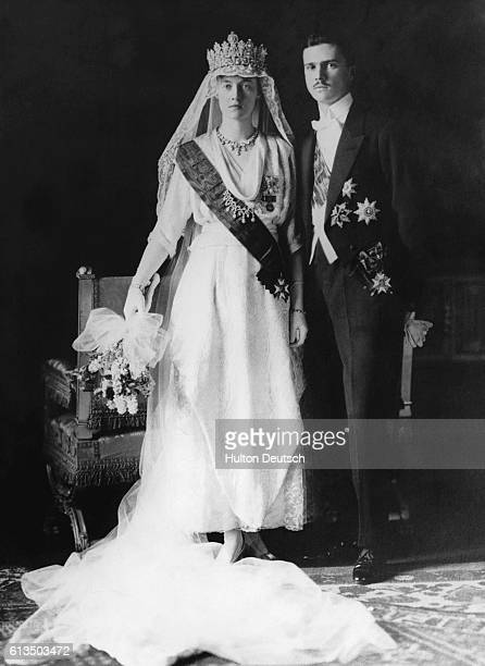The Grand Duchess Of Luxembourg In Her Wedding Dress With Prince Felix Of Bourbon.