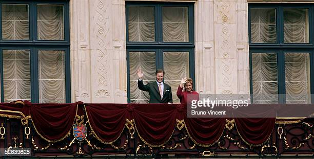 The Grand Duke Henri and Grand Duchess Maria Teresa of Luxembourg appear at the balcony of the Palais Grand Ducal as part of the celebrations...