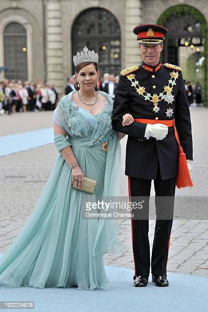 The Grand Duke Henri of Luxembourg and The Grand Duchess Maria Teresa of Luxembourg attend the wedding of Crown Princess Victoria of Sweden and...