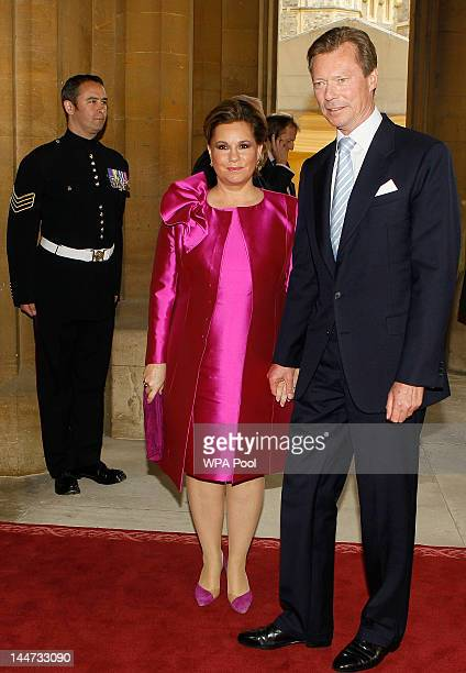 The Grand Duke Henri of Luxembourg and The Grand Duchess Maria Teresa of Luxembourg arrive for a lunch for Sovereign Monarchs in honour of Queen...