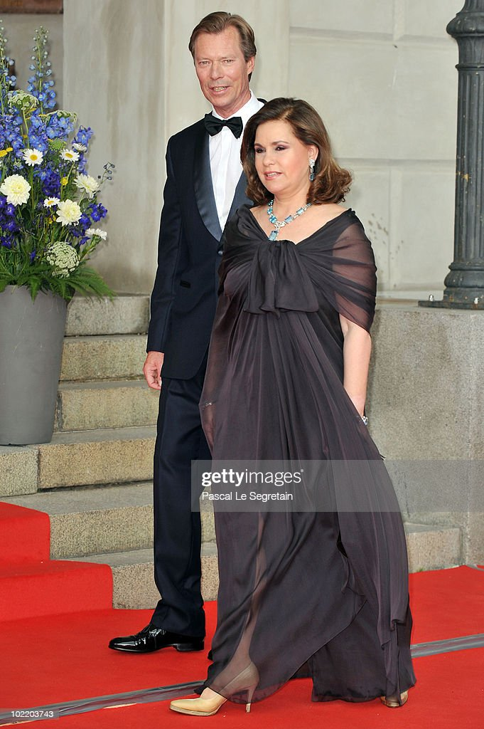 The Grand Duke of Luxembourg and The Grand Duchess of Luxembourg attends the Government Pre-Wedding Dinner for Crown Princess Victoria of Sweden and Daniel Westling at The Eric Ericson Hall on June 18, 2010 in Stockholm, Sweden.