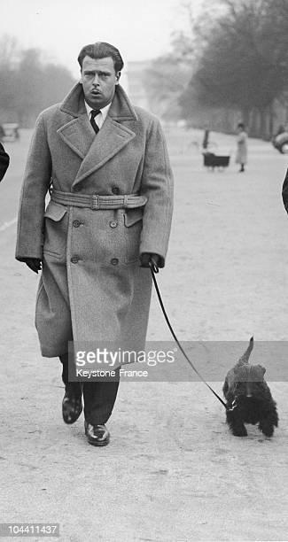 The Grand Duke of Russia VLADIMIR KYRILLOVICH walking his dog on the Avenue du Bois in Paris in 1938 The Great Duke VLADIMIR a descendant of the...