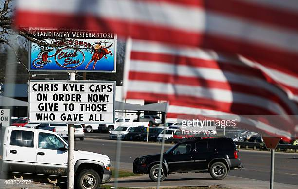The Grand Entry Western Store advertises 'Chris Kyle' hats for sale on their street sign February 11 2015 in Stephenville Texas Eddie Ray Routh of...