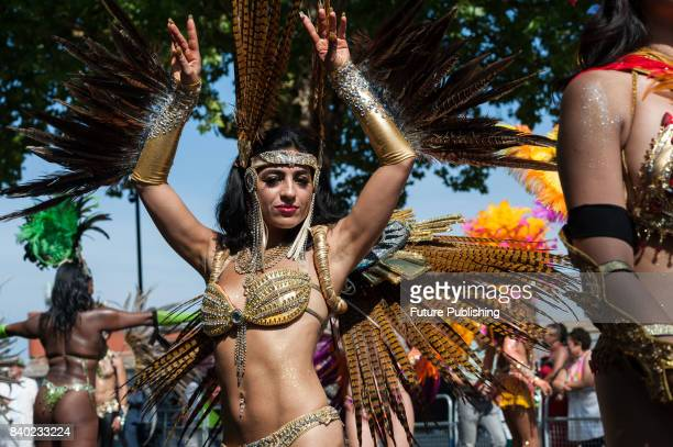 The grand finale of the Notting Hill Carnival during which performers present their costumes and dance to the rhythms of the mobile sound systems or...