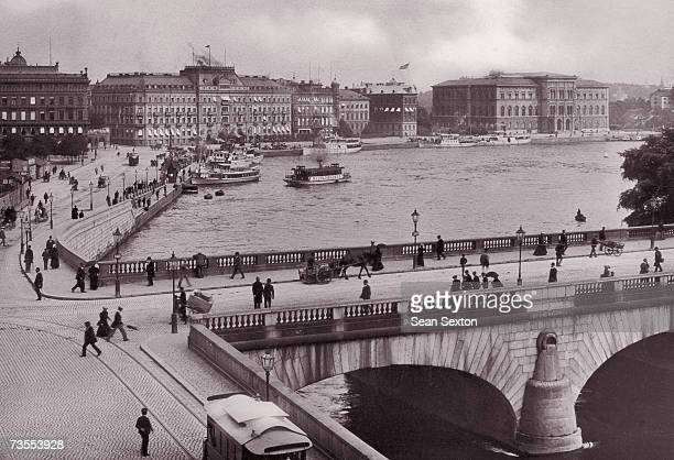 The Grand Hotel and National Museum in Stockholm, with Strombron Bridge in the foreground, circa 1900.