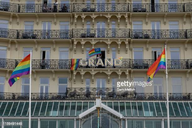 The Grand Hotel during the annual Brighton Pride parade on the 3rd August 2019 in Brighton in the United Kingdom