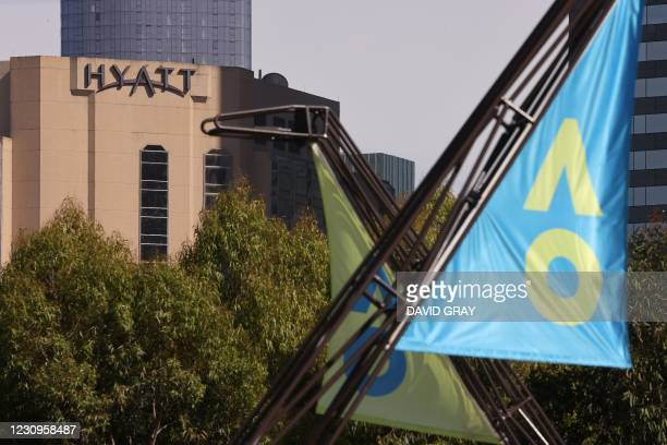 The Grand Hyatt hotel is seen from Melbourne Park in Melbourne on February 4 as preparations for the Australian Open were thrown into chaos when up...