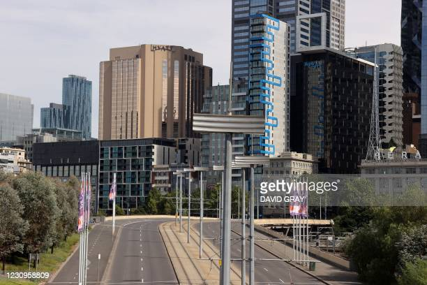 The Grand Hyatt hotel is seen in Melbourne on February 4 as preparations for the Australian Open were thrown into chaos when up to 600 players and...