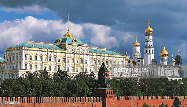 The Grand Kremlin Palace , design by Konstantin Ton , Blagovescenskaja Tower and Ivan the Great Bell Tower , design by Marco Bono, Kremlin Palace ,...
