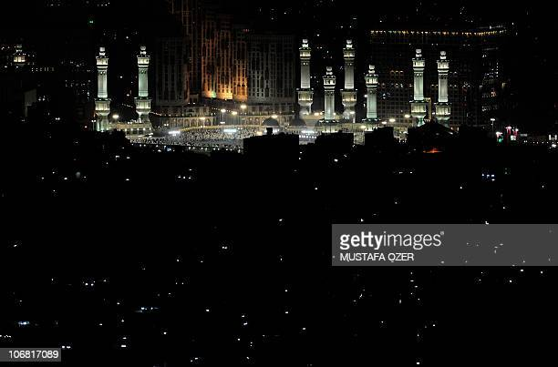 The Grand Mosque is seen from the top of Noor mountain overlooking Mecca late on November 13 as some 25 million Muslim pilgrims descend on the holy...
