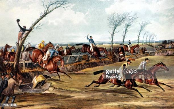 The Grand National Steeplechase Aintree Liverpool England 26th February 1939 The 1839 Grand National in progress shows the scene at Becher's Brook...
