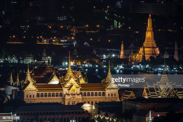 The Grand Palace and Wat Arun Ratchawararam temple of bangkok, thailand