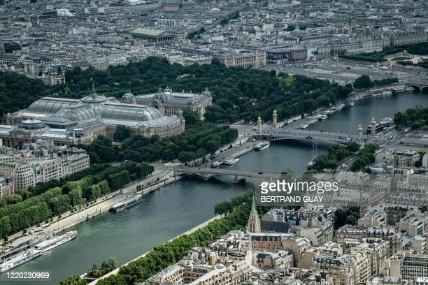 The 'Grand Palais', 'Petit Palais' and the Place de la Concorde and the Seine river are seen from The Eiffel Tower in Paris on June 15, 2020. -...