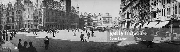 The Grand Place in Brussels with the Town Hall on the left circa 1895