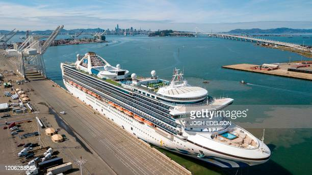 The Grand Princess cruise ship docks at the Port of Oakland in Oakland California on March 9 2020 A cruise ship carrying thousands of people who were...