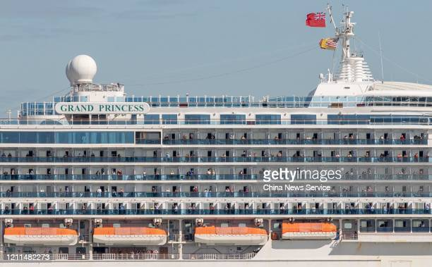 The Grand Princess cruise ship sails nearby Golden Gate Bridge on March 9, 2020 in San Francisco, USA. The Grand Princess cruise ship docked at Port...