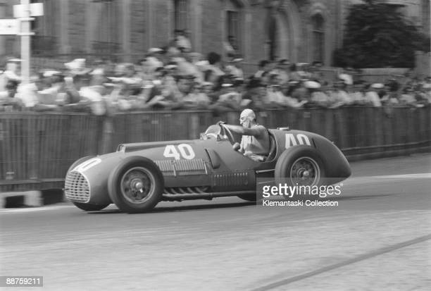The Grand Prix des Nations Geneva July 30 1950 Alberto Ascari cornering hard in the Ferrari 340/F1 a car based on the chassis of the earlier 125/F1...